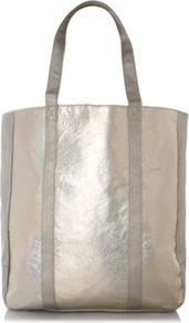 Metallic Tote Bag Silver - predominant colour: silver; occasions: casual, work, holiday; type of pattern: standard; style: tote; length: handle; size: oversized; material: faux leather; pattern: plain; trends: metallics; finish: metallic