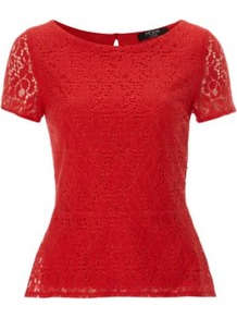 Moda Lace Peplum Top Red - neckline: round neck; pattern: plain; shoulder detail: contrast pattern/fabric at shoulder; waist detail: peplum waist detail; predominant colour: true red; occasions: casual, evening, work; length: standard; style: top; fibres: nylon - mix; fit: tailored/fitted; back detail: keyhole/peephole detail at back; sleeve length: short sleeve; sleeve style: standard; texture group: lace; pattern type: fabric