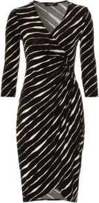 Moda Stripe Jersey Dress Black - style: faux wrap/wrap; neckline: v-neck; pattern: striped; waist detail: fitted waist; predominant colour: black; occasions: evening, work; length: just above the knee; fit: body skimming; fibres: viscose/rayon - stretch; sleeve length: 3/4 length; sleeve style: standard; pattern type: fabric; pattern size: standard; texture group: jersey - stretchy/drapey