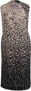 Beige/Black Asymmetric Border Print Jersey Dress - style: shift; neckline: round neck; sleeve style: sleeveless; predominant colour: black; occasions: evening, work, occasion; length: on the knee; fit: body skimming; sleeve length: sleeveless; trends: glamorous day shifts; pattern type: fabric; pattern size: standard; pattern: patterned/print; texture group: jersey - stretchy/drapey; fibres: viscose/rayon - mix