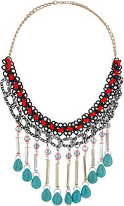 Turquoise Dangle Collar - predominant colour: turquoise; occasions: casual, evening, holiday; style: choker/collar; length: long; size: large/oversized; material: chain/metal; finish: plain; embellishment: beading, chain/metal