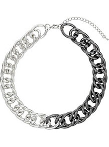 Half Coat Chain Collar - predominant colour: silver; occasions: casual, evening; style: choker/collar; length: short; size: large/oversized; material: chain/metal; finish: metallic; embellishment: chain/metal