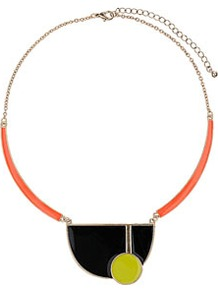 Bauhaus Shape Collar - predominant colour: black; occasions: casual, evening, work, occasion; style: choker/collar; length: short; size: large/oversized; material: chain/metal; finish: fluorescent