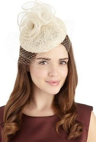 Floral Corsage Birdcage Veil Headband - predominant colour: ivory; occasions: evening, occasion; type of pattern: light; style: fascinator; size: standard; material: macrame/raffia/straw; pattern: florals, plain, patterned/print; trends: high impact florals, sculptural frills; embellishment: corsage