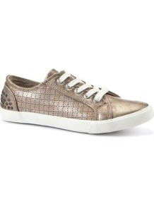 Gold Metallic Lace Up Trainers - predominant colour: gold; occasions: casual; material: faux leather; heel height: flat; toe: round toe; style: trainers; trends: metallics; finish: metallic; pattern: plain