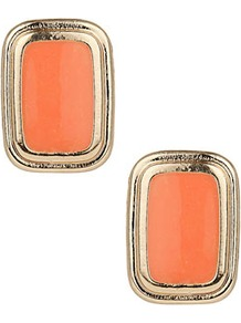 Oblong Coral Stud Earrings - predominant colour: coral; occasions: casual, evening, work, occasion, holiday; style: stud; length: short; size: standard; material: chain/metal; fastening: pierced; finish: metallic; embellishment: beading, chain/metal