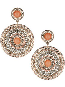 Thread Wrap Disc Earrings - predominant colour: coral; occasions: casual, evening, occasion, holiday; style: drop; length: long; size: large/oversized; material: chain/metal; fastening: pierced; trends: metallics; finish: metallic; embellishment: beading, chain/metal, crystals