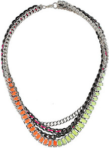 Neon Chains Multi Row Necklace - occasions: casual, evening, work, holiday; predominant colour: multicoloured; style: multistrand; length: mid; size: standard; material: chain/metal; trends: fluorescent, metallics; finish: fluorescent; embellishment: beading, chain/metal