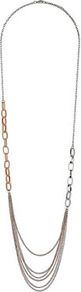 Blush Multi Row Chain Necklace - occasions: casual, evening, work, occasion; predominant colour: multicoloured; style: multistrand; length: long; size: standard; material: chain/metal; trends: metallics; finish: metallic; embellishment: chain/metal