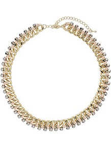 Thread Wrap Chain Necklace - predominant colour: gold; occasions: casual, evening, work, occasion; style: standard; length: short; size: standard; material: chain/metal; trends: metallics; finish: plain; embellishment: beading, chain/metal, crystals