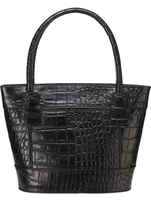 Galway Small Croc Print Grab Handbag, Black - predominant colour: black; occasions: casual, evening, work; type of pattern: light; style: tote; length: handle; size: standard; material: leather; pattern: animal print, plain; finish: plain