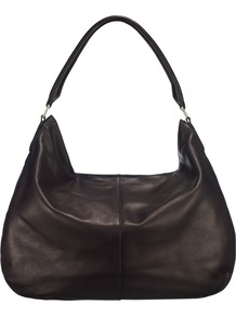 Edsim Hobo Handbag - predominant colour: black; occasions: casual, evening, work; style: shoulder; length: shoulder (tucks under arm); size: standard; material: leather; pattern: plain; finish: plain