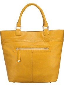 Montacute Tote Handbag, Yellow - predominant colour: yellow; occasions: casual, evening, work; type of pattern: standard; style: tote; length: handle; size: oversized; material: leather; embellishment: zips; pattern: plain; trends: fluorescent; finish: plain