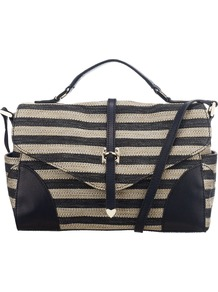 Clevedon Stripe Across Body Handbag - predominant colour: navy; occasions: casual, evening, work; type of pattern: standard; style: satchel; length: across body/long; size: standard; material: fabric; finish: plain; pattern: horizontal stripes; embellishment: chain/metal