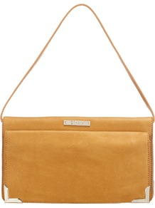 Clover Travel Clutch Handbag - predominant colour: mustard; occasions: casual, evening, occasion; style: shoulder; length: shoulder (tucks under arm); size: standard; material: leather; pattern: plain; finish: plain; embellishment: chain/metal