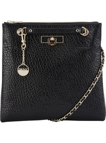 French Grain Leather Across Body Handbag, Black - predominant colour: black; occasions: casual, work; type of pattern: standard; style: messenger; length: across body/long; size: standard; material: leather; pattern: plain; finish: plain; embellishment: chain/metal