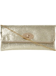 Bostons Glitter Evening Clutch Bag - predominant colour: gold; occasions: evening, occasion; type of pattern: standard; style: clutch; length: hand carry; size: small; material: fabric; embellishment: glitter, chain/metal; pattern: plain; trends: metallics; finish: metallic