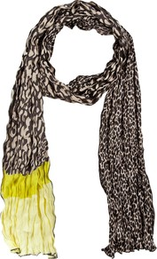 Animal Print Scarf, Black/Beige - predominant colour: chocolate brown; occasions: casual, evening, work, occasion, holiday; type of pattern: standard; style: regular; size: standard; material: fabric; pattern: animal print, colourblock