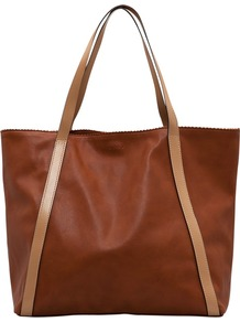 Shopper Handbag, Brown - predominant colour: chocolate brown; occasions: casual, work, holiday; type of pattern: light; style: tote; length: handle; size: oversized; material: faux leather; pattern: plain, two-tone, colourblock; finish: plain