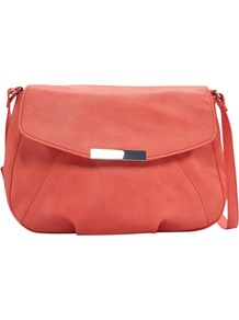 Metal Plate Shoulder Handbag, Coral - predominant colour: coral; occasions: casual, evening, work, occasion, holiday; style: shoulder; length: shoulder (tucks under arm); size: small; material: faux leather; pattern: plain; finish: plain; embellishment: chain/metal