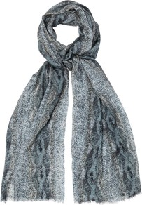 Reptile Print Scarf, Grey - predominant colour: mid grey; occasions: casual, evening, work, occasion; type of pattern: large; style: regular; size: standard; material: silk; pattern: animal print, patterned/print; trends: statement prints
