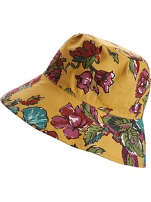 Waxed Cotton Rain Hat - secondary colour: magenta; predominant colour: mustard; occasions: casual, holiday; type of pattern: large; style: sunhat; size: standard; material: fabric; pattern: florals; trends: high impact florals