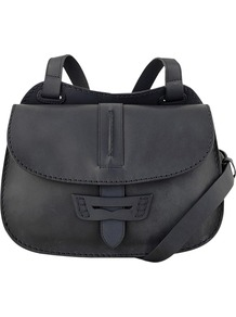 Beaufront Flapover Across Body Handbag - predominant colour: aubergine; occasions: casual, evening, work; style: saddle; length: across body/long; size: standard; material: leather; pattern: plain; finish: plain