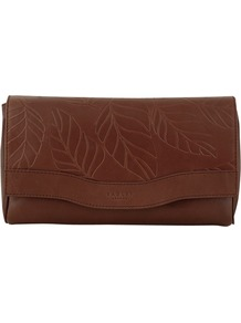 Carsington Leaf Print Flapover Medium Clutch Handbag - predominant colour: chocolate brown; occasions: casual, evening, work, holiday; type of pattern: light; style: clutch; length: hand carry; size: small; material: leather; embellishment: embroidered; pattern: plain, patterned/print; finish: plain