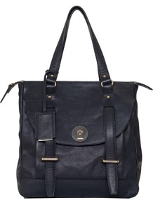 Cannonbury Tote Bag, Black - predominant colour: black; occasions: casual, work; style: tote; length: shoulder (tucks under arm); size: standard; material: leather; pattern: plain; finish: plain; embellishment: buckles