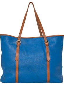 Portobello Shopper - predominant colour: diva blue; occasions: casual, work, holiday; style: tote; length: shoulder (tucks under arm); size: standard; material: leather; pattern: plain; finish: plain; embellishment: buckles