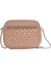 Chain Patent Bag, Nude - predominant colour: nude; occasions: casual, evening, occasion, holiday; type of pattern: light; style: shoulder; length: across body/long; size: small; material: faux leather; embellishment: quilted, chain/metal; pattern: plain; trends: metallics; finish: patent