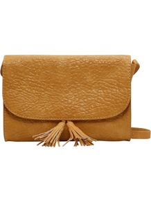 Shoulder Bag With Tassels, Yellow - predominant colour: mustard; occasions: casual, evening, work, occasion; type of pattern: light; style: shoulder; length: across body/long; size: small; material: faux leather; embellishment: tassels; pattern: plain; finish: plain