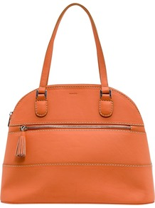 Tassel Handbag, Orange - predominant colour: bright orange; occasions: casual, work, holiday; style: bowling; length: shoulder (tucks under arm); size: standard; material: faux leather; embellishment: tassels, zips; pattern: plain; trends: fluorescent; finish: plain