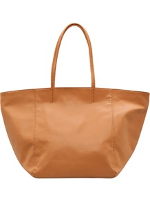 Stitch Detail Tote, Tan - predominant colour: camel; occasions: casual, work, holiday; style: tote; length: shoulder (tucks under arm); size: oversized; material: faux leather; pattern: plain; finish: plain