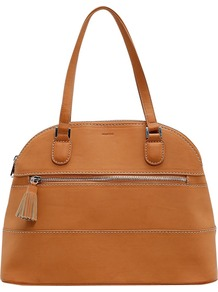 Tassel Tote Handbag, Tan - predominant colour: tan; occasions: casual, work; type of pattern: light; style: bowling; length: shoulder (tucks under arm); size: standard; material: faux leather; pattern: plain; finish: plain