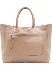 Pocket Leather Tote - predominant colour: nude; occasions: casual, evening, work; type of pattern: standard; style: tote; length: handle; size: oversized; material: leather; embellishment: zips; pattern: plain; finish: plain