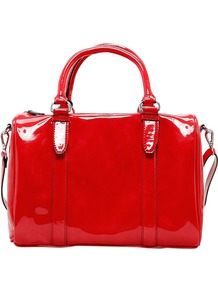 Patent Bowling Bag, Coral - predominant colour: true red; occasions: casual, work, holiday; style: bowling; length: handle; size: standard; material: faux leather; embellishment: zips; pattern: plain; trends: fluorescent; finish: patent
