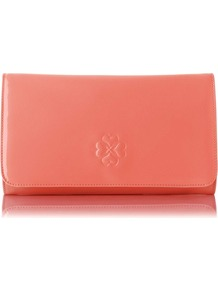 Frome Patent Leather Clutch Bag Peach - predominant colour: coral; occasions: evening, occasion; style: clutch; length: hand carry; size: standard; material: leather; pattern: plain; finish: patent