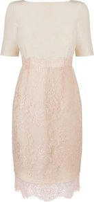 Charris Crepe And Lace Dress Cream Champagne - style: shift; neckline: slash/boat neckline; fit: tailored/fitted; pattern: plain; waist detail: fitted waist; predominant colour: champagne; occasions: evening, occasion; length: just above the knee; fibres: cotton - mix; sleeve length: short sleeve; sleeve style: standard; texture group: lace; pattern type: fabric