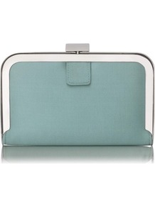 Amelia Framed Satin Box Clutch Green Mint - predominant colour: pistachio; occasions: evening, occasion; type of pattern: standard; style: clutch; length: hand carry; size: standard; material: leather; pattern: plain; finish: plain; embellishment: chain/metal