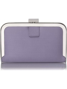 Amelia Framed Satin Box Clutch Purple Lavender - predominant colour: lilac; occasions: evening, occasion; type of pattern: standard; style: clutch; length: hand carry; size: standard; material: leather; pattern: plain; trends: metallics; finish: plain; embellishment: chain/metal