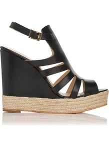 Hawaii Leather Gladiator Wedge Sandal Black - predominant colour: black; occasions: casual, evening, work, holiday; material: leather; heel height: high; embellishment: buckles; ankle detail: ankle strap; heel: wedge; toe: open toe/peeptoe; style: strappy; finish: plain; pattern: plain