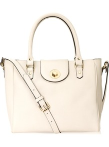 Burlington Bag - predominant colour: ivory; occasions: casual, evening, work, holiday; type of pattern: light; style: tote; length: handle; size: standard; material: leather; pattern: plain; finish: plain