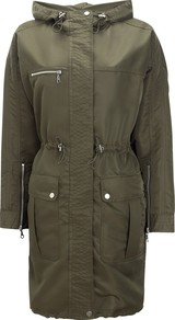 Sporty Summer Parka - pattern: plain; fit: loose; style: parka; hip detail: front pockets at hip; collar: high neck; length: mid thigh; predominant colour: khaki; occasions: casual; fibres: polyester/polyamide - 100%; waist detail: fitted waist, belted waist/tie at waist/drawstring; sleeve length: long sleeve; sleeve style: standard; texture group: cotton feel fabrics; collar break: high; pattern type: fabric