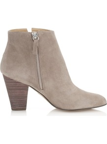 Kir Royal Suede Ankle Boot - predominant colour: stone; occasions: casual, work; material: suede; heel height: mid; embellishment: zips; heel: block; toe: round toe; boot length: ankle boot; style: standard; finish: plain; pattern: plain