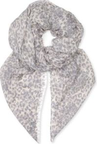 Scribbly Leopard Modal Scarf - predominant colour: light grey; occasions: casual, evening, work; type of pattern: standard; style: square; size: standard; material: fabric; embellishment: fringing; pattern: animal print, two-tone; trends: statement prints