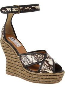 Legion Espadrille Wedge Sandals - predominant colour: tan; occasions: casual, holiday; material: leather; heel height: high; embellishment: buckles; ankle detail: ankle strap; heel: wedge; toe: open toe/peeptoe; style: standard; finish: plain; pattern: animal print