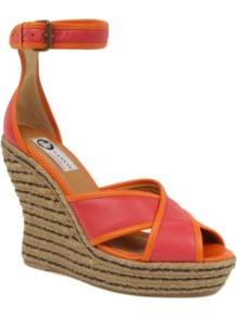 Legion Espadrille Wedge Sandals - predominant colour: coral; occasions: casual, evening, holiday; material: leather; heel height: high; embellishment: buckles; ankle detail: ankle strap; heel: wedge; toe: open toe/peeptoe; style: standard; finish: plain; pattern: plain, two-tone