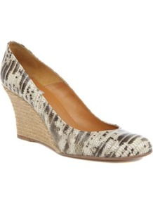Hope Espadrille Wedge Courts - predominant colour: stone; occasions: casual, evening, work, holiday; material: leather; heel height: high; heel: wedge; toe: round toe; style: courts; finish: plain; pattern: animal print
