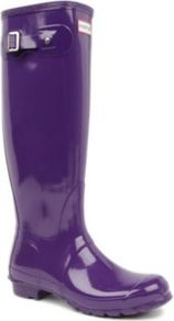 Original Gloss Tall Wellies - predominant colour: purple; occasions: casual; material: plastic/rubber; heel height: flat; embellishment: buckles; heel: standard; toe: round toe; boot length: knee; style: wellies; finish: patent; pattern: plain